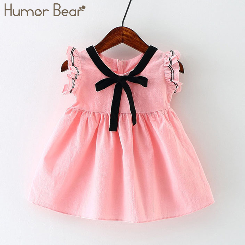 Humor Bear New Spring Summer Style Baby Girls Princess Dress Bowknot Party Dresses Baby Clothes Baby