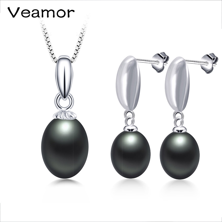 VEAMOR 925 Sterling Silver Bridal Jewelry Sets & More for Women Wedding Earrings with High Quality AAAA Freshwater Pearl