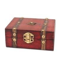 Armario de juguete con cerradura de madera Vintage para sala de estar, caja de almacenamiento cuadrada antigua para material de papelería