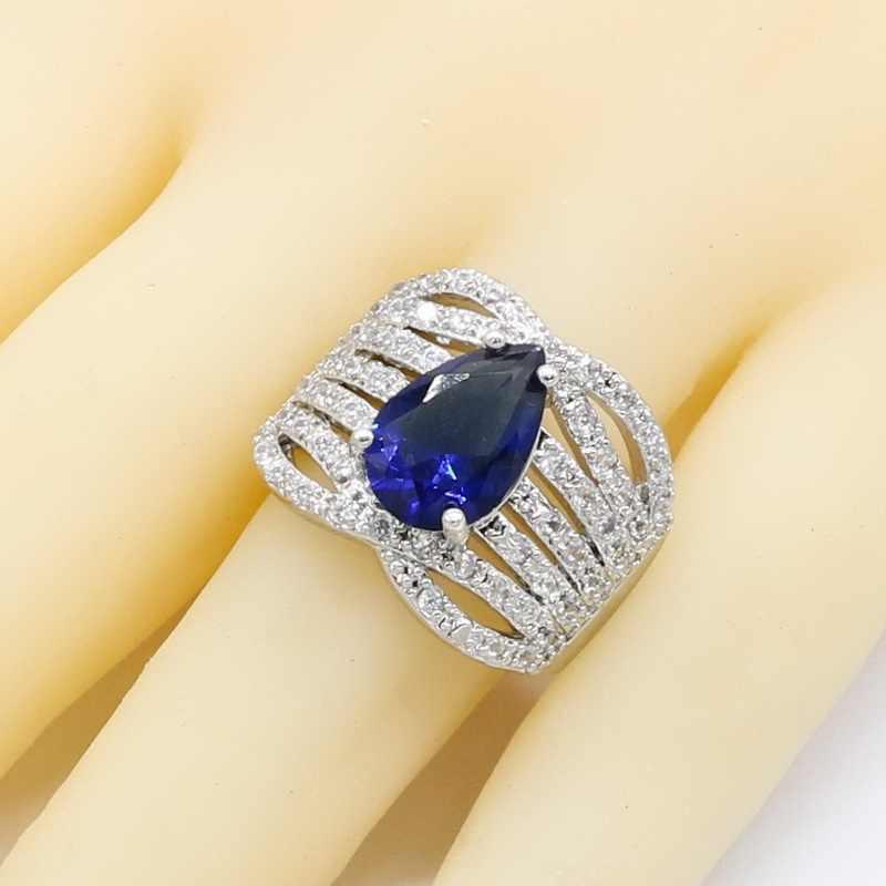Royal Blue Semi-precious 925 เงินชุดเจ้าสาวเครื่องประดับสำหรับผู้หญิงสร้อยข้อมือต่างหูสร้อยคอแหวนจี้ของขวัญกล่อง
