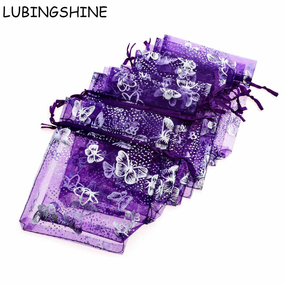 LUBINGSHINE 15x20cm 17x23cm 20x30cm 50PCS Jewelry Gift Organza <font><b>Bags</b></font> Wedding Candy Pouches Wholesale Butterfly Beads <font><b>Bag</b></font> image