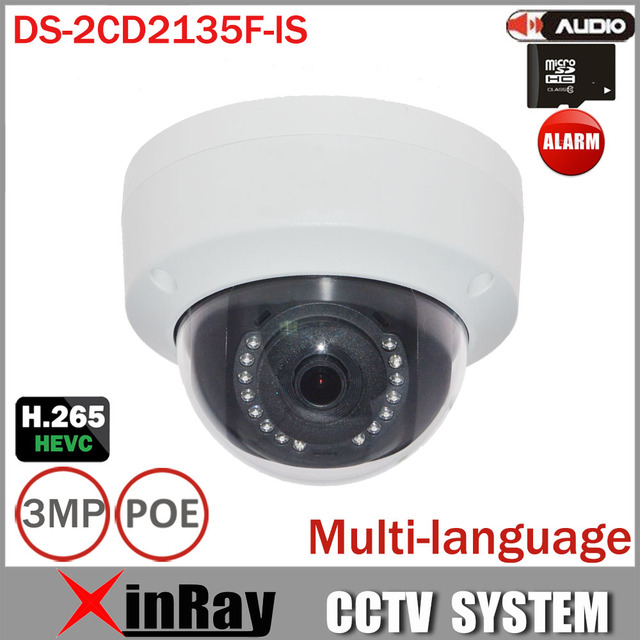 Newest DS-2CD2135F-IS Replace DS-2CD2132F-IS DS-2CD3132-I 1080P Audio Alarm I/O POE IP camera TF Card Slot