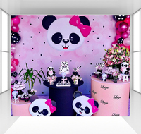 Panda background for girls boy photography backdrops baby children birthday party decoration Surprise doll dessert table CZ 177