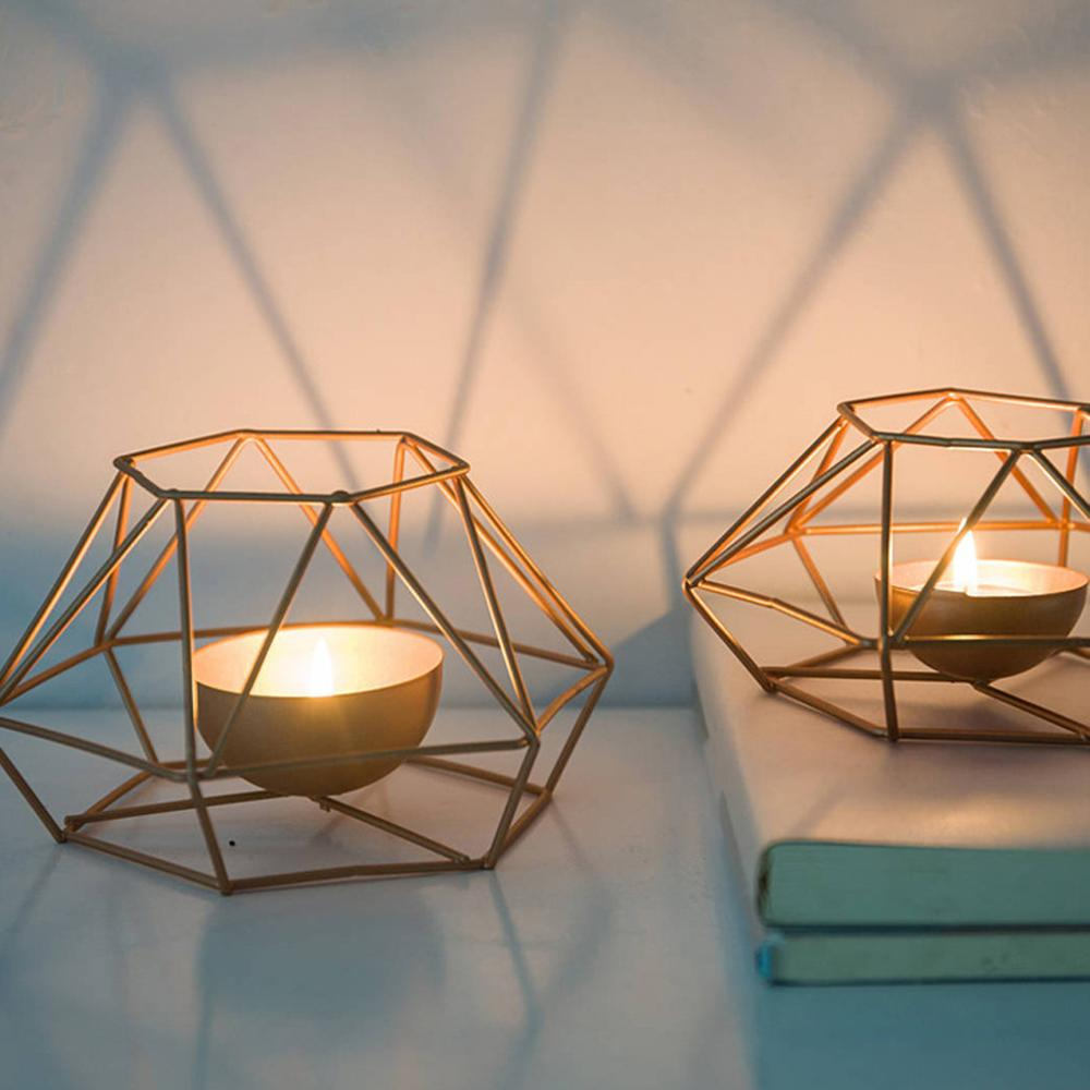 WHER Modern Wrought Iron Geometric Candle Holder Gold Candlestick Tea Light Crafts for Home Party Wedding Decor Ornaments