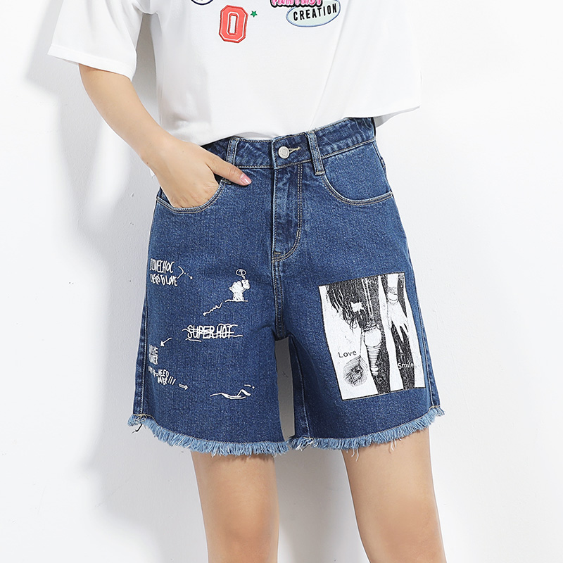 LEIJIJEANS Fashion Jeans 2017 Summer Women Plus Size L-6XL Denim Shorts Mid Waist Low Elastic Pattern Washed Shorts Femme chicd 2017 new women basic shorts summer fashion slim mid waist white letter printing pockets denim jeans shorts mujer xp377