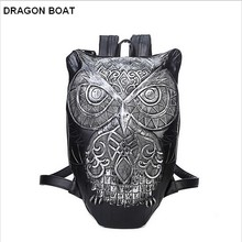 Designers fashion backpack youth Men women 3D owl printing Leather Backpack school backpack motorcycle teenagers bags