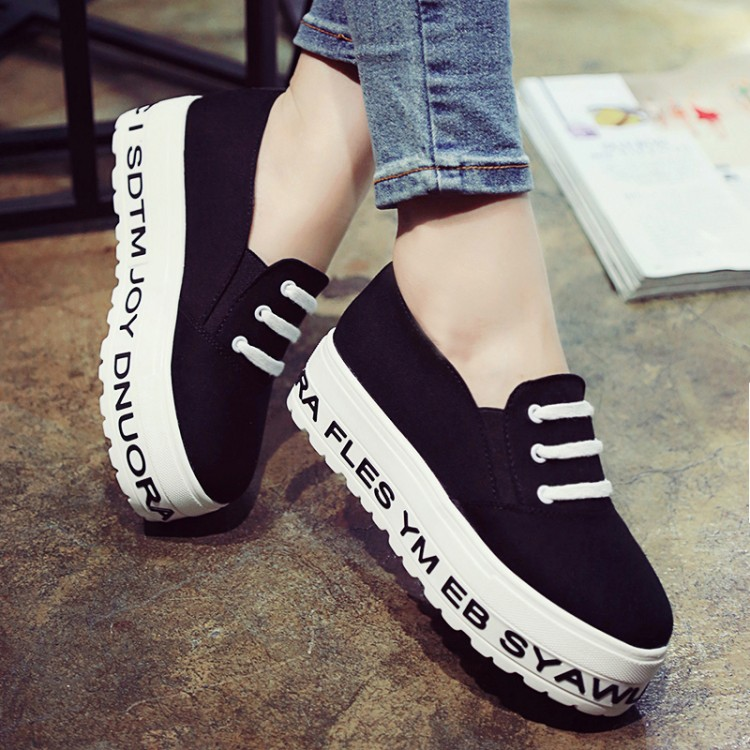 Harajuku Canvas Loafers Women 2015 Casual  Ladies Flats Platform Shoes Female Creeper Footwear Zapatos Mujer Sapato Feminino women canvas shoes 2017 spring autumn classic vulcanize women shoes footwear ladies creepers flats zapatos mujer chaussure femme