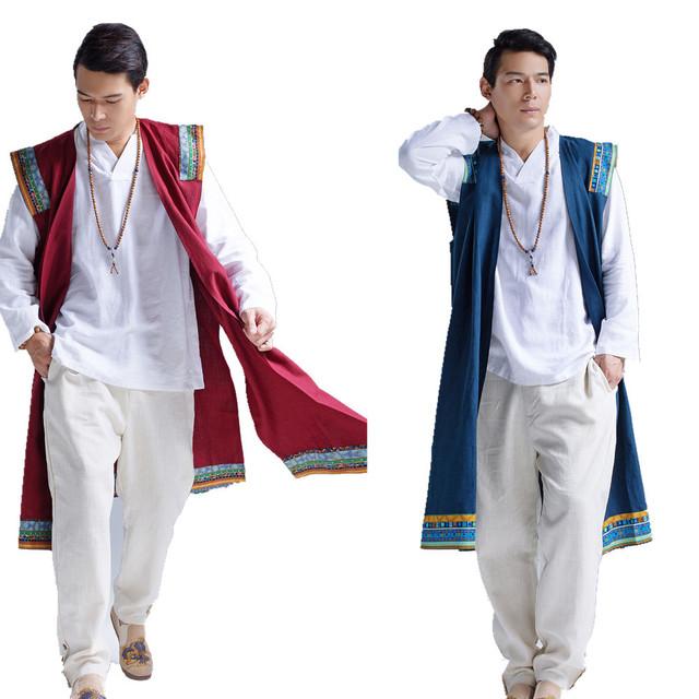 2016 nuevos hombres del chaleco de estilo chino retro print largo chaleco chaqueta tamaño grande de lino suelta capa del chaleco sin mangas