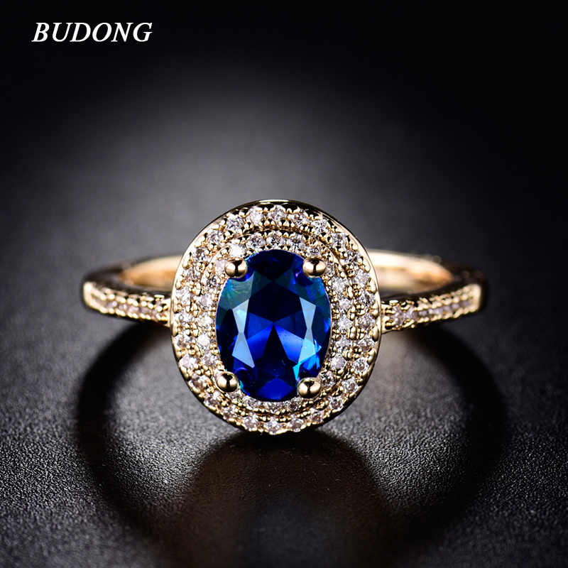 BUDONG Fashion Halo Finger Ring Charming Gold-Color Ring Big Shiny Oval Crystal Zircon Luxury Wedding Jewelry For Women XUR289