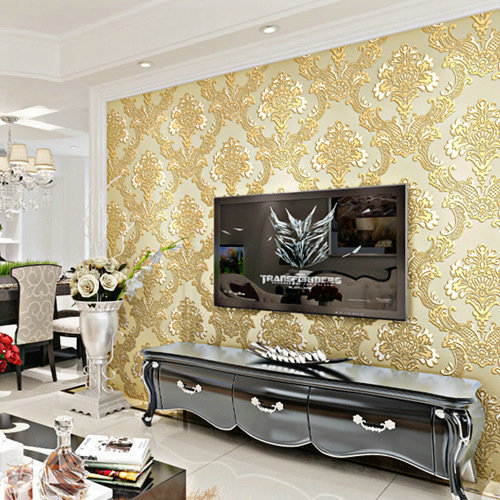 horizontal stripes leaves Non woven fabric wallpaper oil painting ...