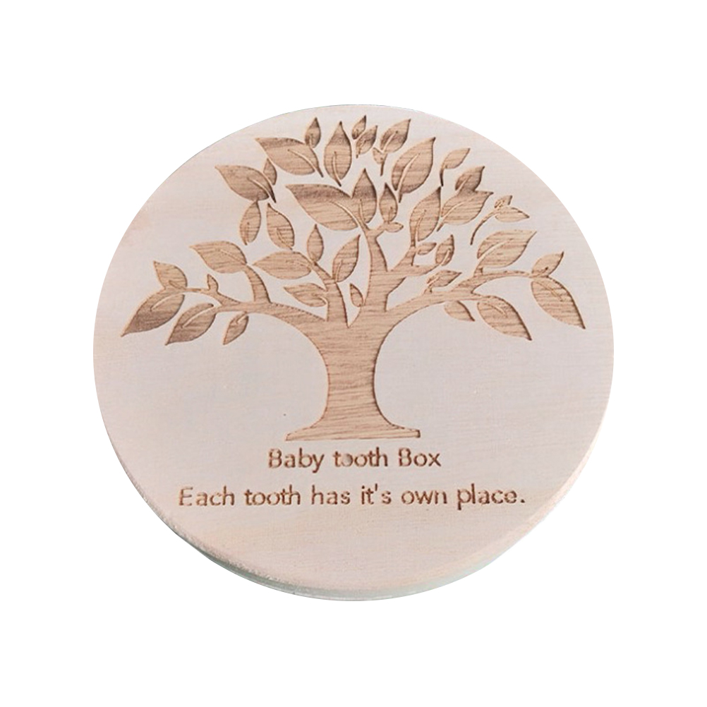 Wooden Baby Teeth Box Wooden Lanugo Deciduous Teeth Container Round English Words Storage Boxes Children's Growth Memorial Gift