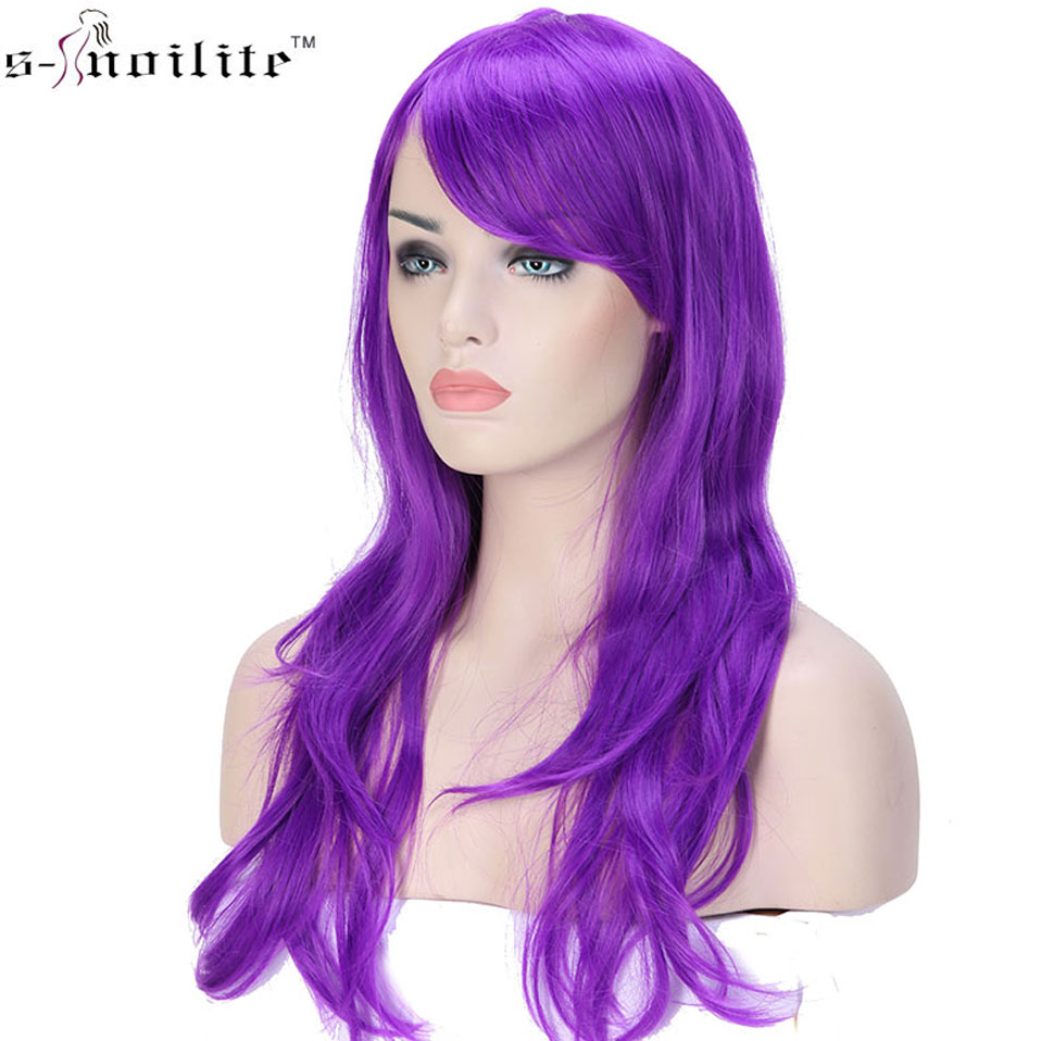 SNOILITE Women 23inch Halloween Wig Synthetic Hair Long Wavy Cosplay Wigs Purple Natural Black Pink Red White Orange