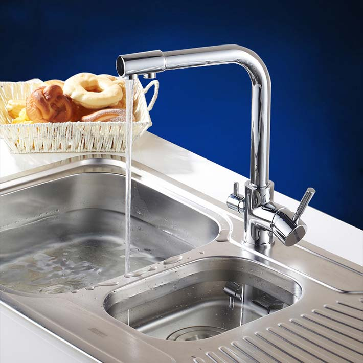 Kitchen Sink Brass Mixer Tap Swivel Single Handle Chrome Water Purifier Faucet