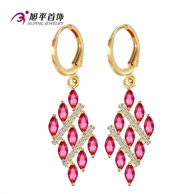 famous brand 7 colors Bohemian long geometric crystal Austria party women cute girlfriend gift jewelry high-end gold earrings