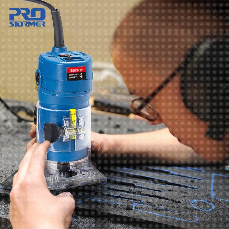 PROSTORMER routeur tondeuse 500 W électrique stratifié bord tondeuse avec sac puissant 6.35 MM mandrin bois tondeuse outils électriques - 6