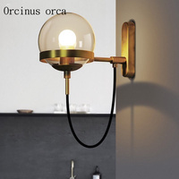 American retro Cognac glass ball wall lamp hotel living room bedroom bedside lamp industrial wind creative copper wall lamp