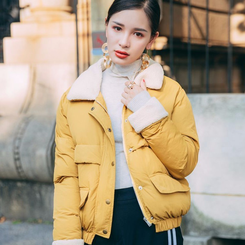 TWOTWINSTYLE 2017 Woman Winter Woolen Cotton Warm Coat Jacket Female Plus Size Big Pockets Loose Tops Casual Korean Clothing qazxsw woman basic coat woman winter jacket for women woolen poncho jacket single button loose cotton padded abrigos mujer hb118