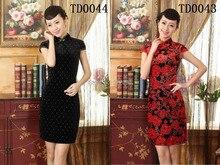 Shanghai Story China Supplier Mini Qipao Chinese Women's Clothing Cheong-sam Dress Velvet Qipao Dresses TD0043 44