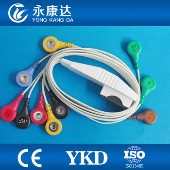 Mortara 12-lead Ambulatory cable,holter ecg cable and leadwires,IEC,Snap,medical TPU cable,Free shipping