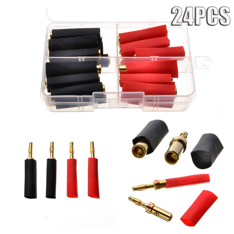 24pcs 4MM Banana Plugs Pure Copper Gold Plated Audio Speaker Cable Wire Connectors Adapters & Red Black Heat Shrink Tubes Set