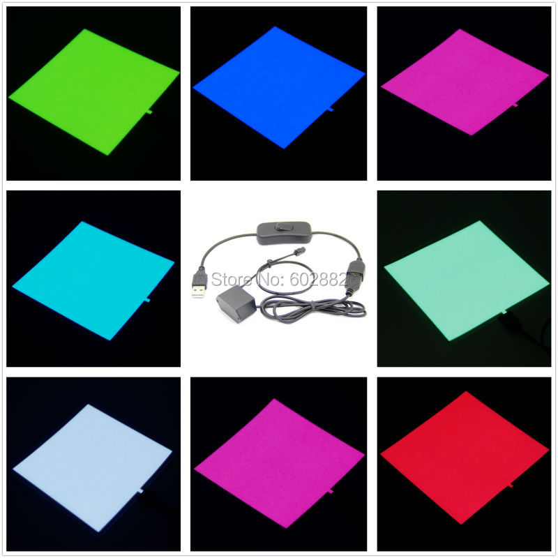 Led Panel 10x10cm El Panel, Backlight (7 Colors Available) + 5v USB Inverter With USB Switch  Mix Order Available