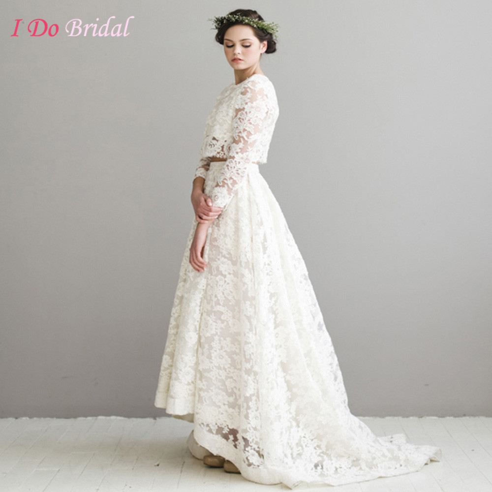Wedding Boho Chic Wedding Dress online get cheap chic bridal aliexpress com alibaba group vintage lace wedding dress boho ivory garden short front long back gowns two piece