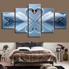 лучшая цена Oil Painting Home Decor Modular Picture 5 Panel White Swan Couples HD Canvas Framework Wall Art Prints Poster For Living Room