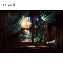 Laeacco Wood Window Outside Photo Backgrounds Customized Digital Photography Backdrops For Studio