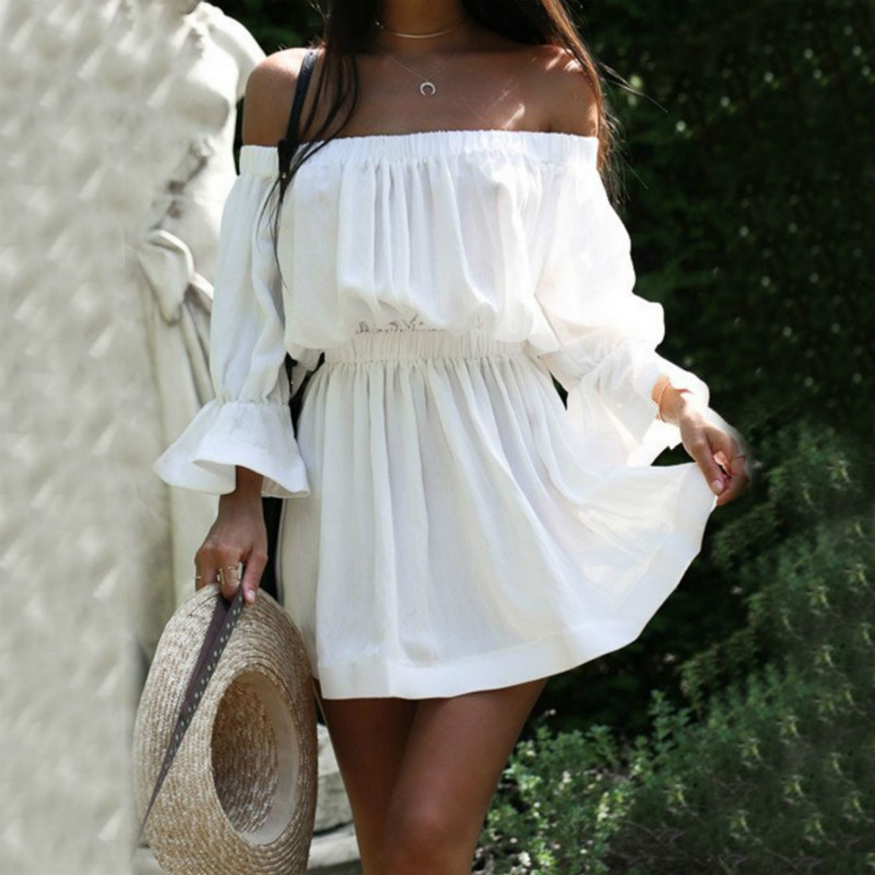 2018 Women Summer Dress Fashion Slash Neck Shoulder Off Backless Flare Sleeves Solid Color Sexy Dress for Female