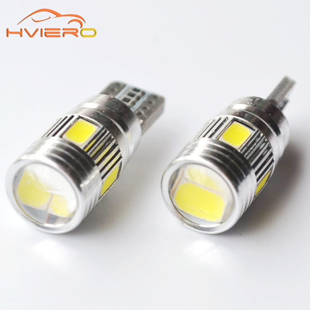 1Pcs T10 W5W White Blue Red Car LED CANBUS Error Free 6SMD 5630Lens 194 501 Interior Lamp Automobile Bulbs Side Marker Parking high t10 canbus 10pcs t10 w5w 194 168 5630 10 smd can bus error free 10 led interior led lights white 6000k canbus 300lm