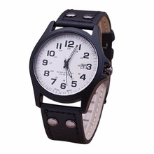 Military Army Date Sport Faux LeatherStrap Mens Analog Quartz Watch Gift A