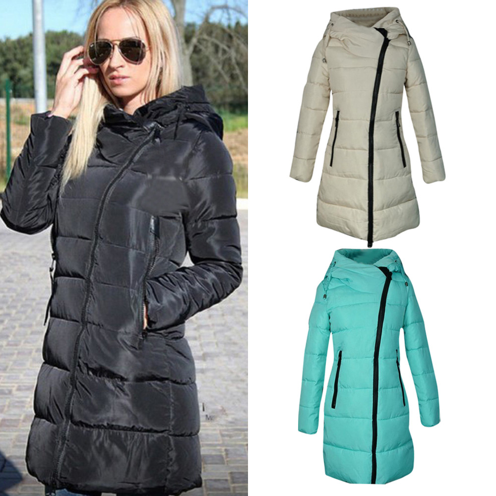 2017 Women Winter Long Outerwear Cotton Padded Coat Long-Sleeved Warm Coats Hooded Long Quilted Zipper Jacket Parka Plus Size
