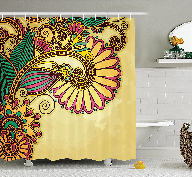 Grunge Home Decor Shower Curtain Set Paisley Flower And Leaf Design ...