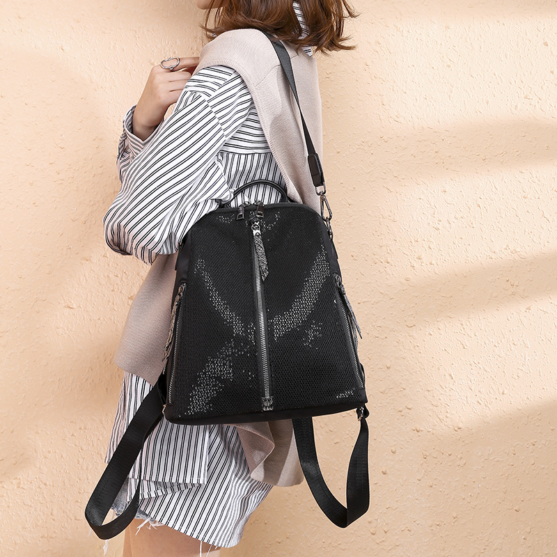 Ladies Backpack Bag Backpacks Korean Style Pu Lock Oxford Solid Black Retro School Backpacks For Teenagers 1525 Purse Rucksack in Backpacks from Luggage Bags