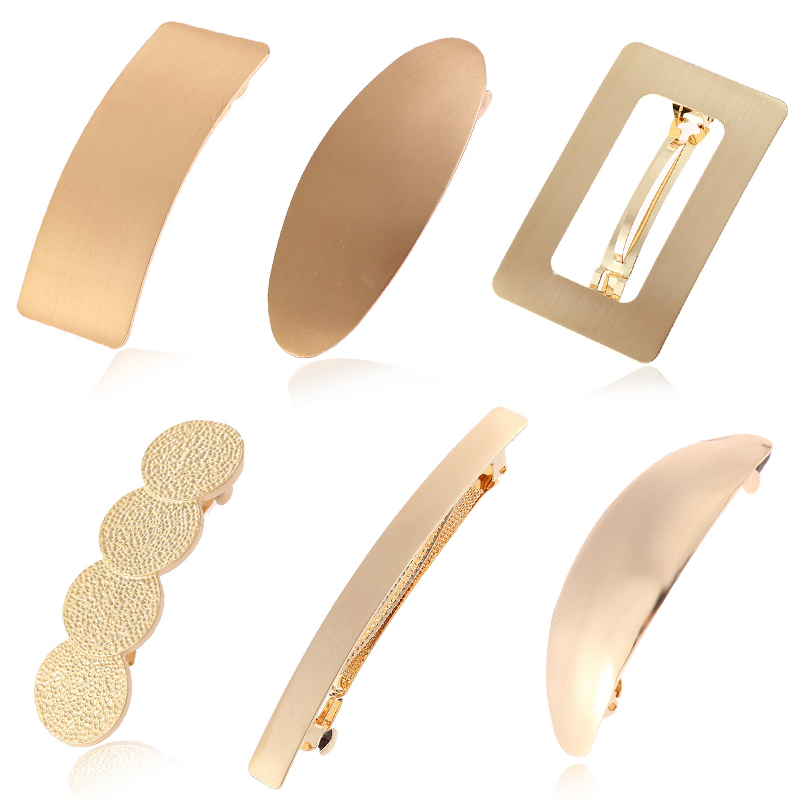 Hot Simple Golden Metal Hair Clips For Women Hairpin   Headwear   Hair Barrette Ponytail Holder Girls Hair Accessories Female