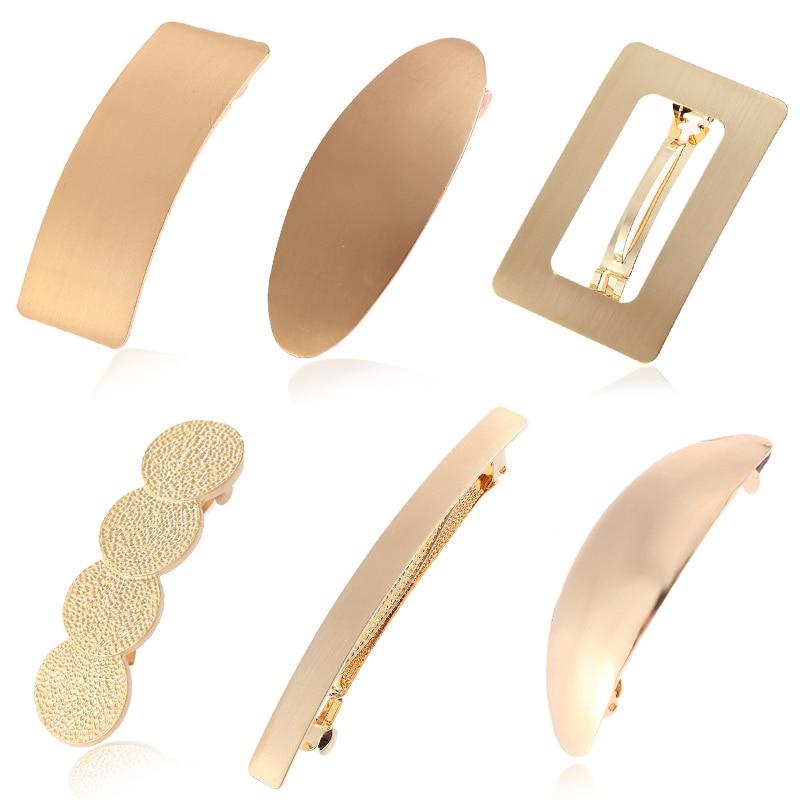 Hot Simple Golden Metal Hair Clips For Women Hairpin   Headwear   Hair Barrette Ponytail Holder Girls Hair Accessories Female