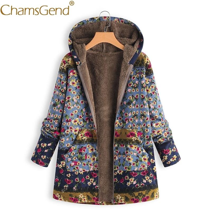 Newly Design Cold Winter Thick Fleece Overcoat Woman Jacket Floral Print Long Hoody Coat  Casaco Feminino Jaqueta Feminina 81106