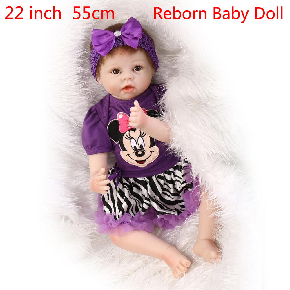 55cm Silicone Reborn Doll Newborn Lifelike Baby Handmade Realistic Baby Dolls 22 Inch Vinyl Reborn Babies Toy Gift for kids npk 22 inch baby gift doll reborn silicone reborn babies handmade real baby reborn dolls lifelike newborn children gift bonecas