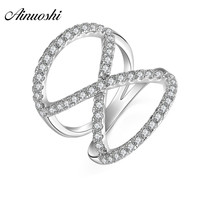 AINUOSHI Geometry 925 Sterling Silver Wedding Ring Number Eight Engagement Anniversary Hallow Rings Anniversary SilverJewelry