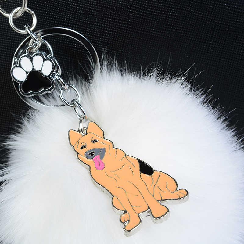 Llaveros de piel de conejo pompón alemán pastor para Mujeres Hombres Pom bola mascota perro colgante bolso encanto llavero Coche llavero llavero