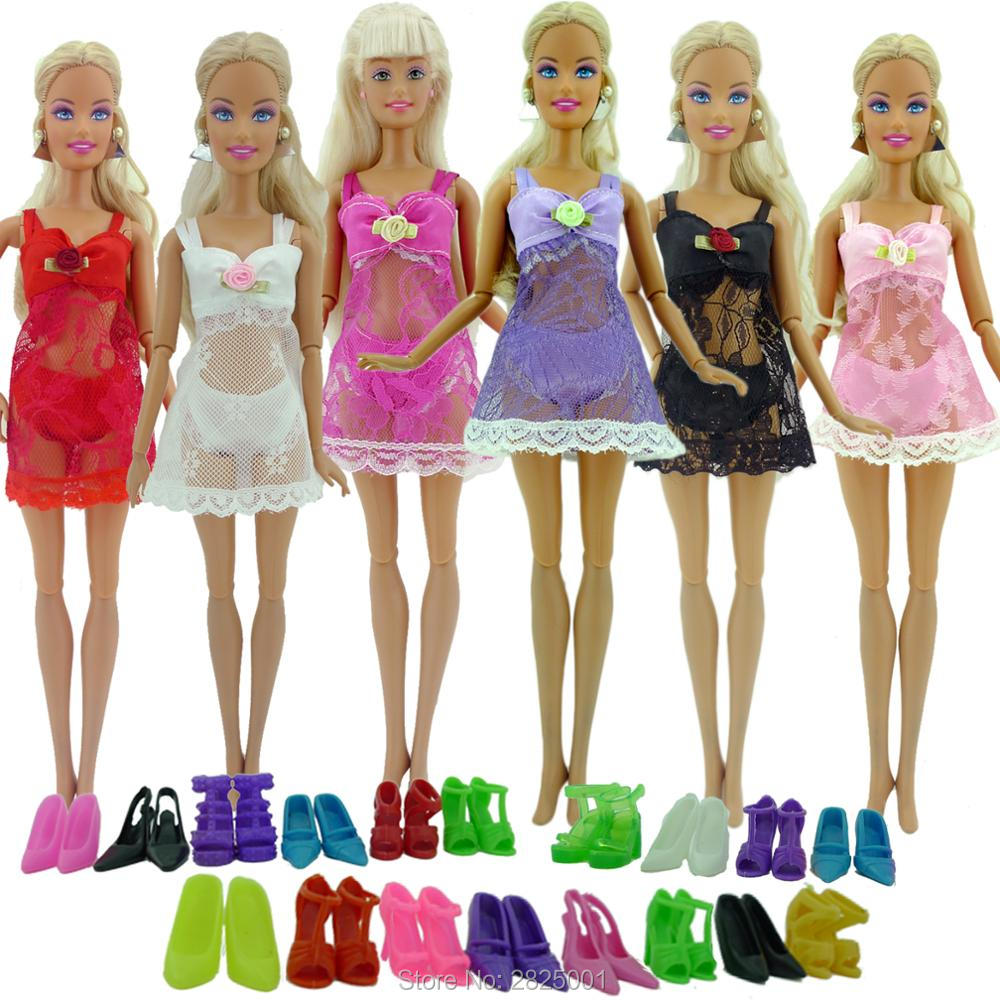 <font><b>16</b></font> Items = 6x <font><b>Sexy</b></font> Pajamas Colorful Lace Outfit Bra Underwear + 10x Random Shoes Mix Style Clothes For Barbie Doll <font><b>Accessories</b></font> image