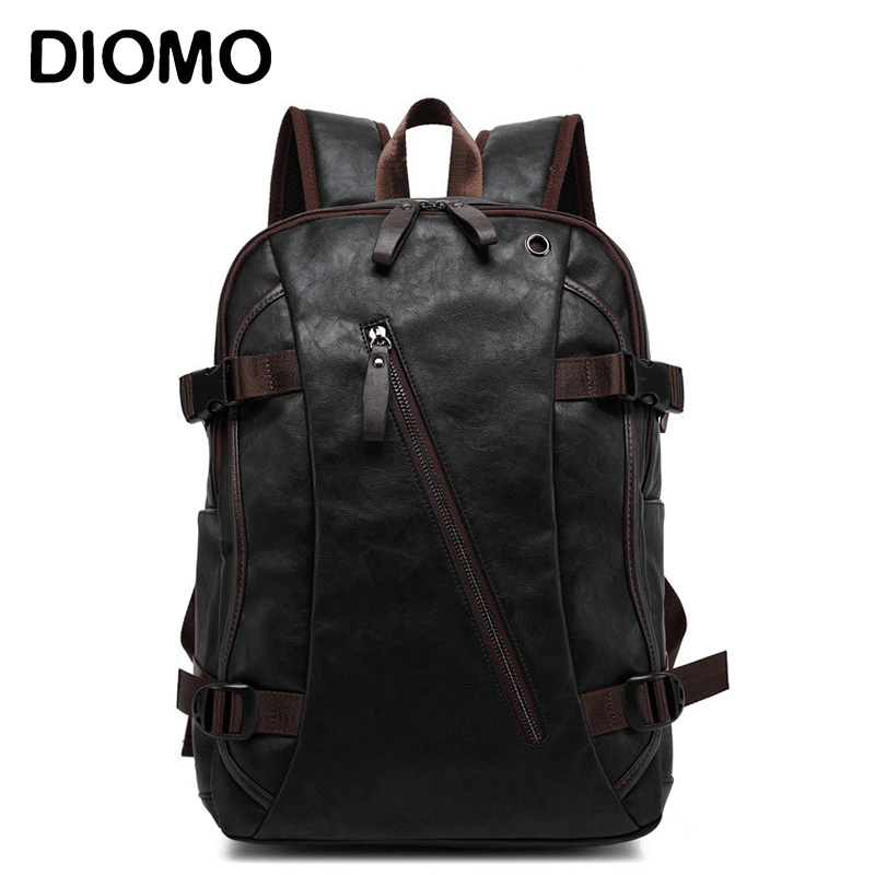 DIOMO Men Backpack 14 / 15.6 Inch Laptop Rucksack School Bag Waterproof Travel Backpack Male Notebook Computer Bag Black Brown