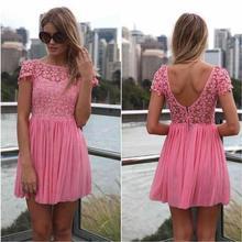 Rosa Cocktailkleid Lace Jewel Mini Kurze Heimkehr Kleider 2015 Backless Chiffon Schöne Auf Verkauf Kurz Abendkleid EB012