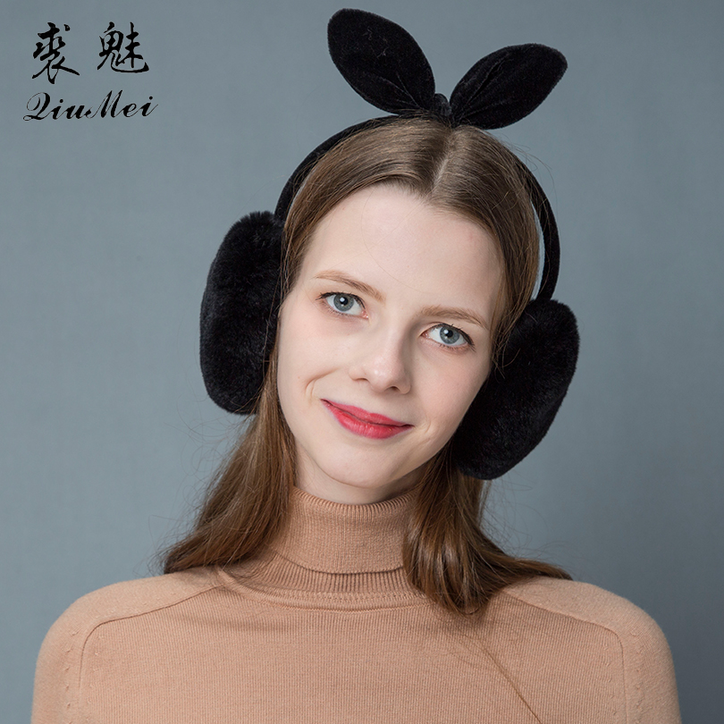Girls 100% Real Rabbit Fur Earmuffs 2019 Winter Earmuff Cartoon Cute Ear Warmers Cat Ear Furry Plush Warm Fur Earmuffs With Bow