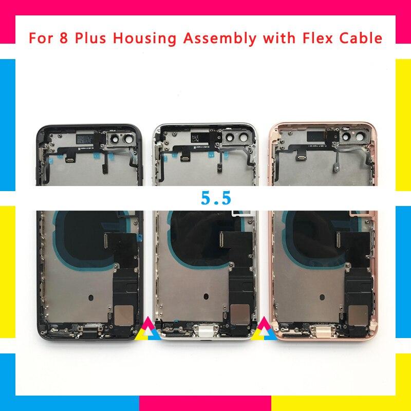 Haute Qualité Full Back cover Assemblée Logement De Couverture De Batterie Châssis Cadre avec Flex Câble Pour iphone 8 8g et 8 plus ou Pour X