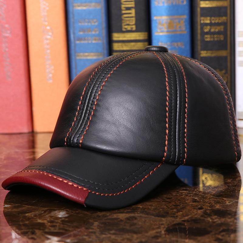 Adult   Baseball     Cap   Male Winter Outdoor Hat Male 100% Genuine Leather Peaked   Cap   Men's Winter Warm Adjustable B-7286