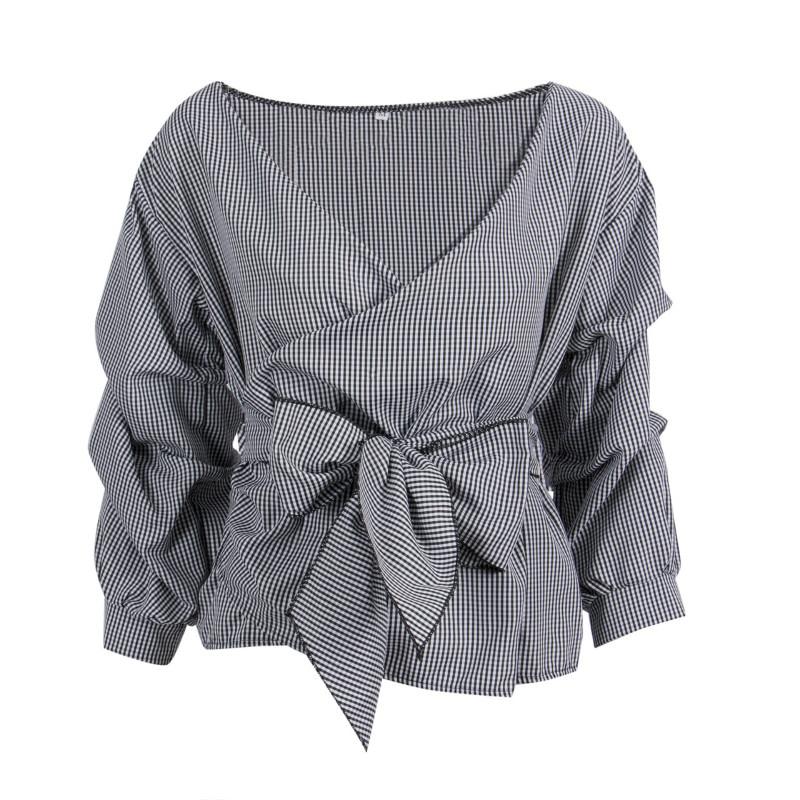 Devoted Fashion Women Cotton Plaid Long Ruffles Sleeve Bandage V-neck Bowknot Blouse Shirts Tops Waist Tie Cross Off Shoulder Shirt Top