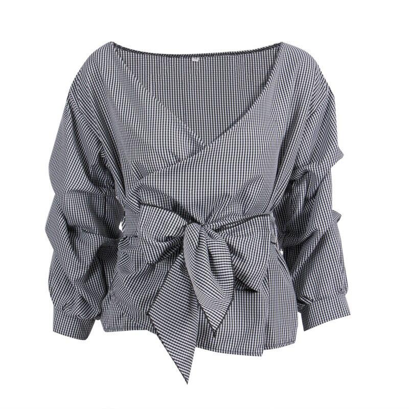 Fashion Women Cotton Plaid Long Ruffles Sleeve Bandage V-Neck Bowknot   Blouse     Shirts   Tops Waist Tie Cross Off Shoulder   Shirt   Top