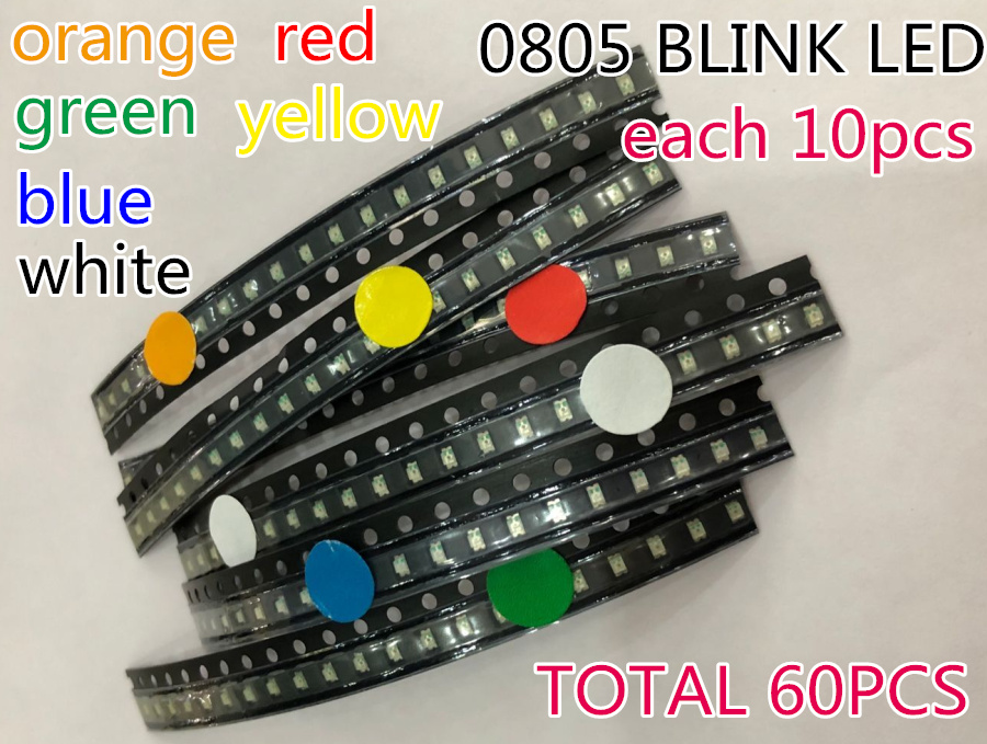 600pcs Flash 0805 Led Diode Mixed Orange Blue Red Yellow Jade-green White 0805 Smd Leds Blinking Flashing Led Diod