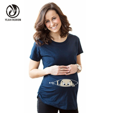 "Plus Size Summer Maternity Shirt ""Baby Peeking Out "" Specialized For Pregnant Women T-shirt Casual Loose Maternity Clothes"